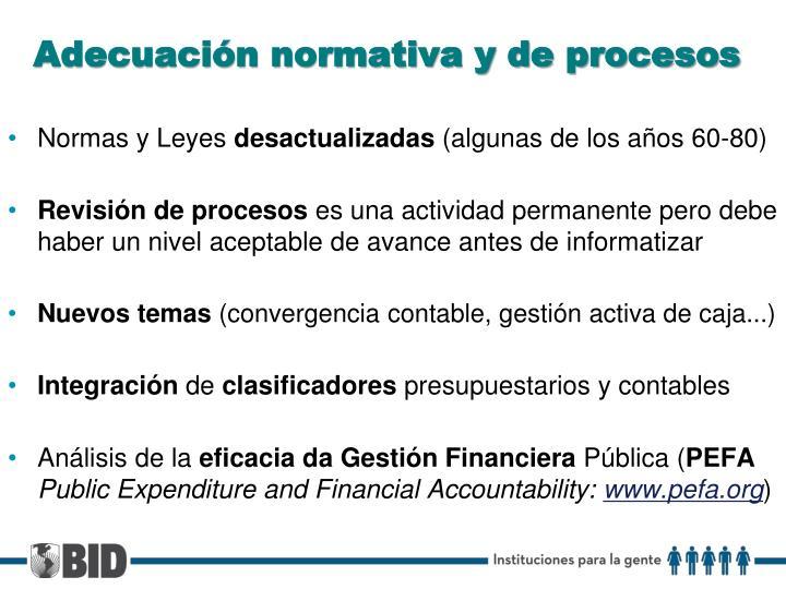 Adecuación normativa y de procesos