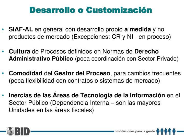 Desarrollo o Customización