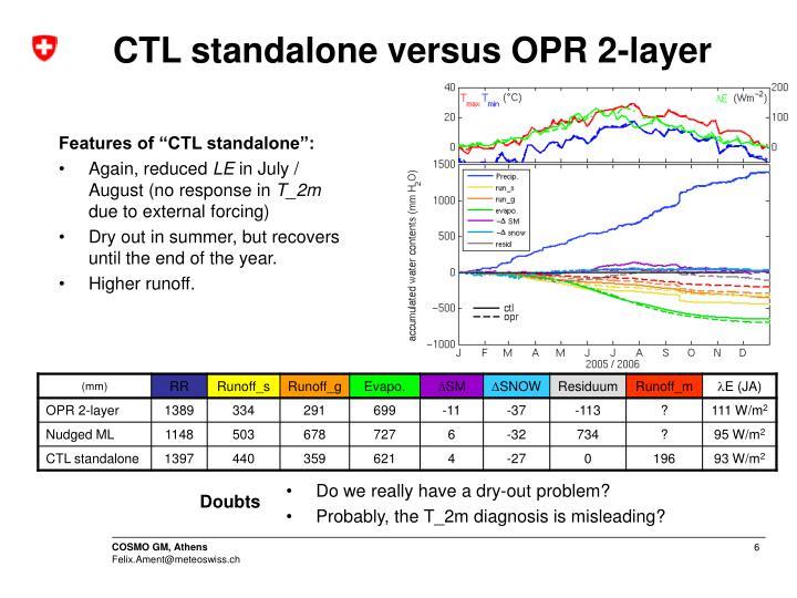 CTL standalone versus OPR 2-layer