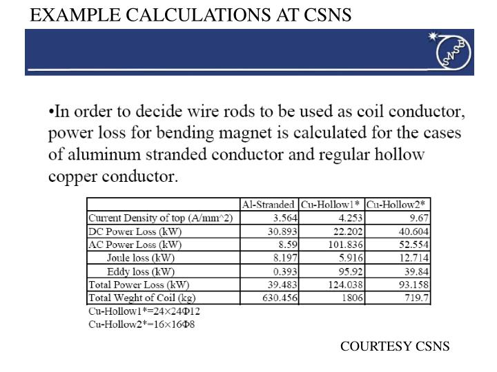 EXAMPLE CALCULATIONS AT CSNS