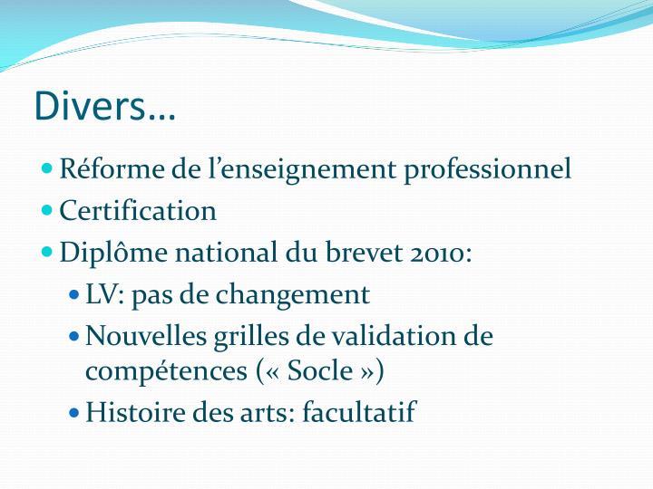 Divers…