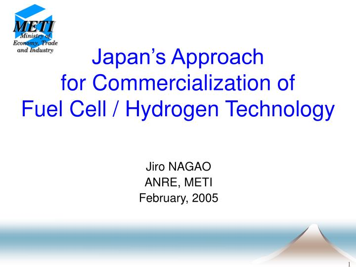 japan s approach for commercialization of fuel cell hydrogen technology n.