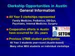 clerkship opportunities in austin general information