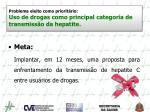 problema eleito como priorit rio uso de drogas como principal categoria de transmiss o da hepatite