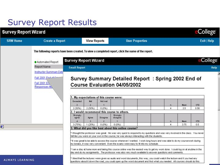 Survey Report Results