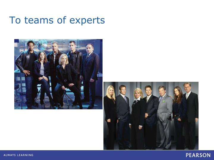 To teams of experts
