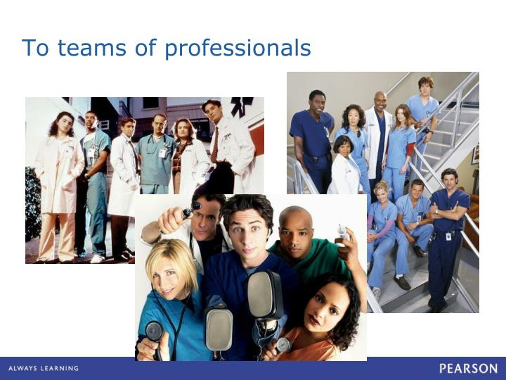 To teams of professionals