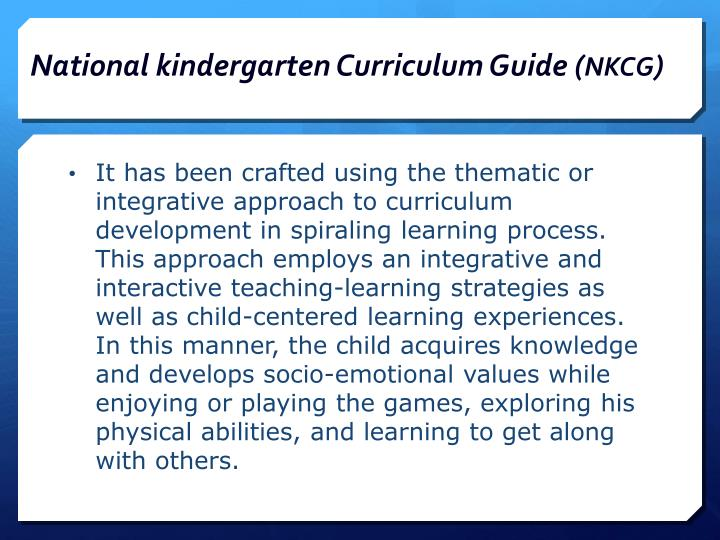 ppt national kindergarten education curriculum guide for teachers rh slideserve com national kindergarten curriculum guide part 1 national kindergarten curriculum guide week 1-20