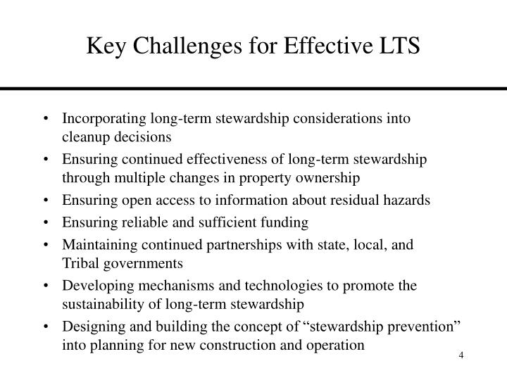 Key Challenges for Effective LTS
