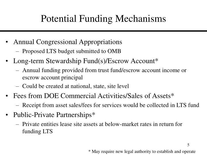 Potential Funding Mechanisms
