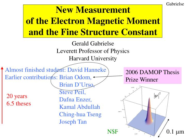 new measurement of the electron magnetic moment and the fine structure constant n.