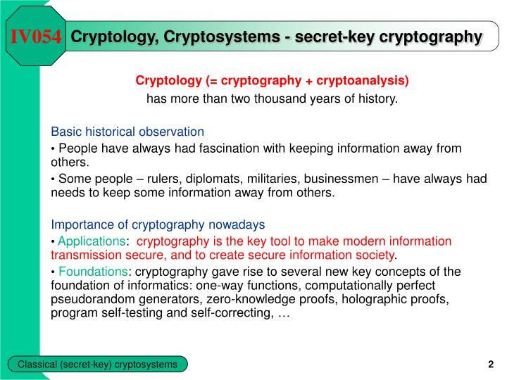 Cryptology cryptosystems secret key cryptography
