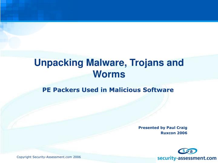 unpacking malware trojans and worms n.