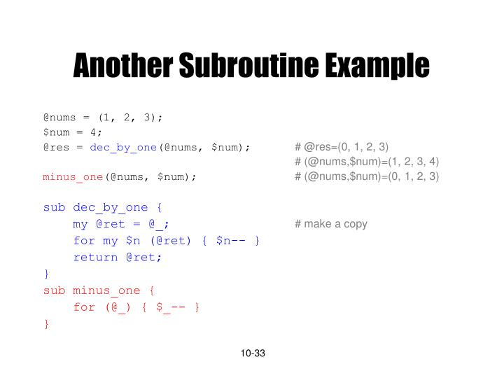 Another Subroutine Example