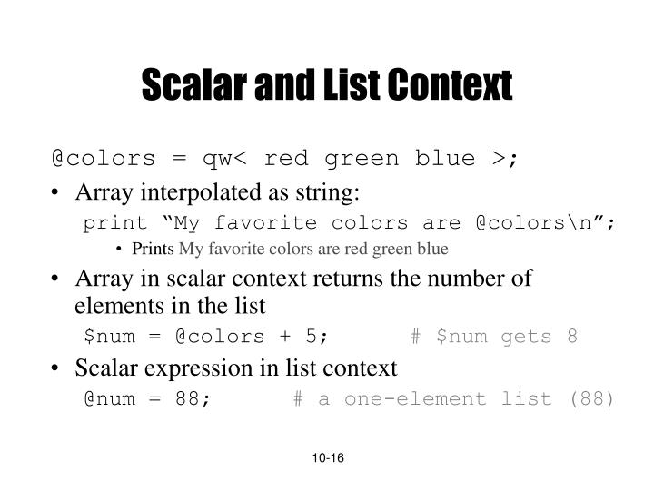 Scalar and List Context