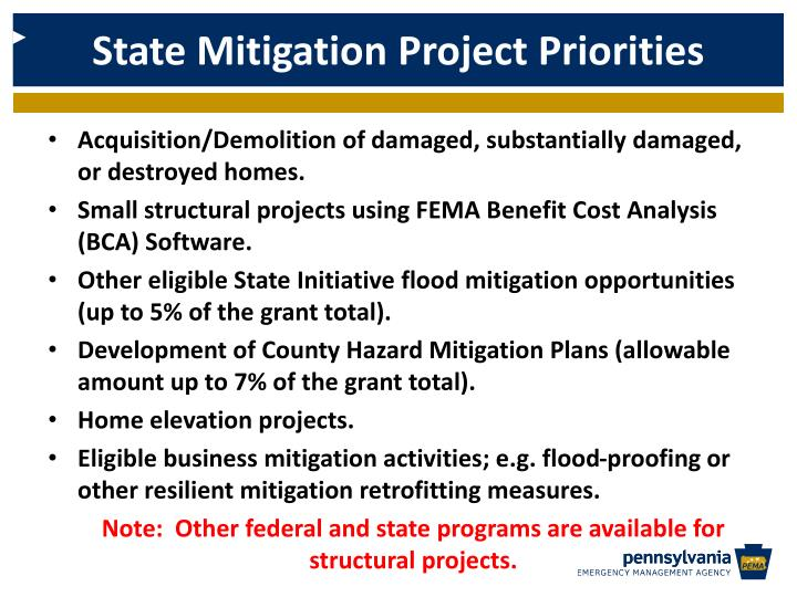 State Mitigation Project Priorities