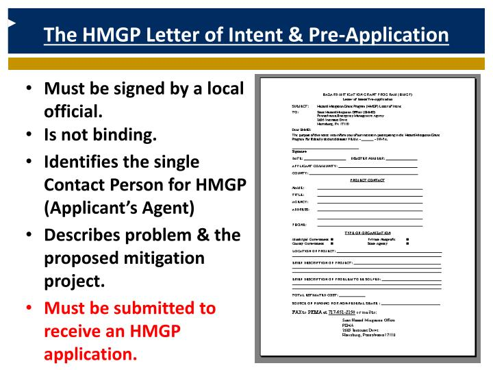 The HMGP Letter of Intent & Pre-Application