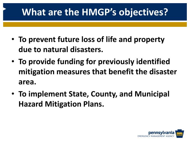 What are the HMGP's objectives?