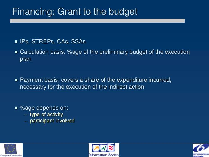 Financing: Grant to the budget