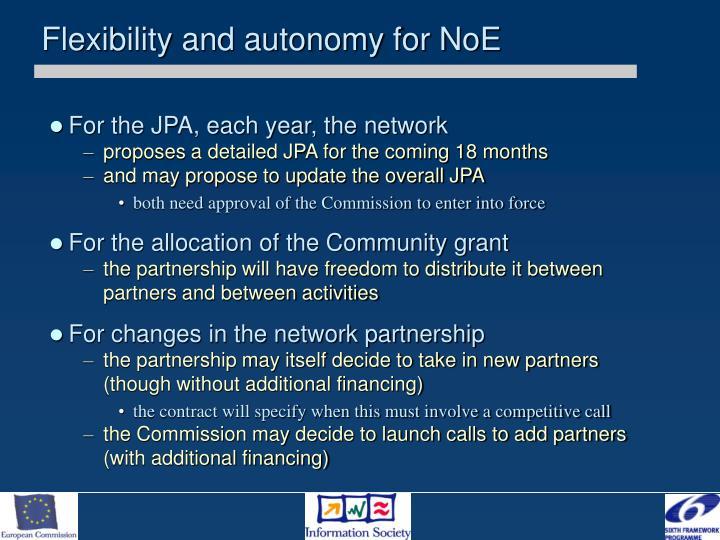 Flexibility and autonomy for NoE