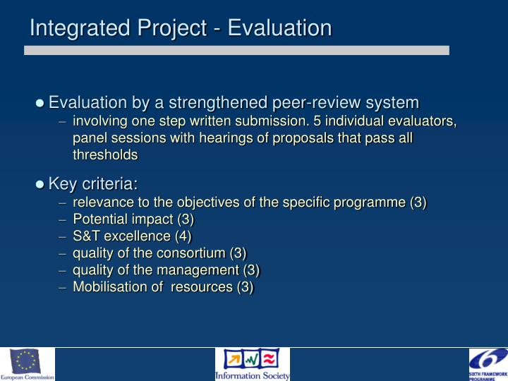 Integrated Project - Evaluation