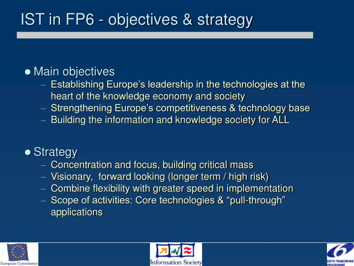 IST in FP6 - objectives & strategy