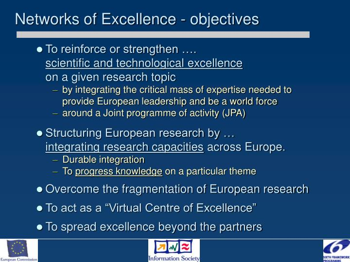 Networks of Excellence - objectives