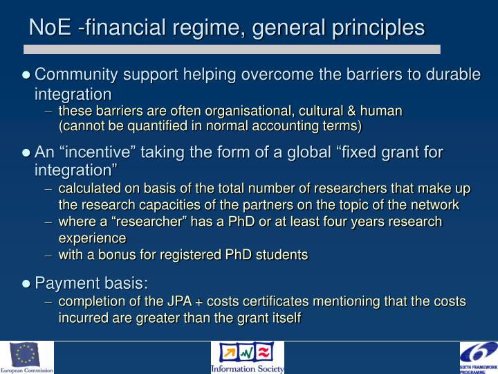NoE -financial regime, general principles