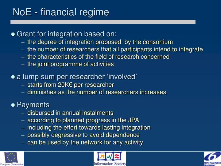 NoE - financial regime