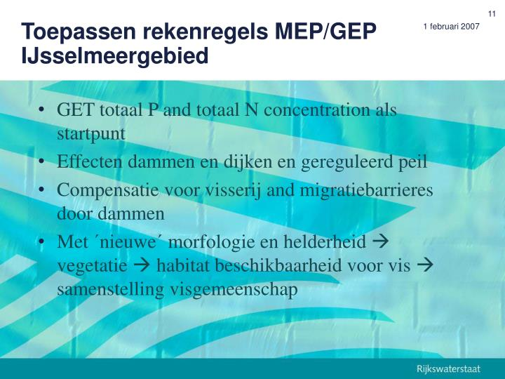 Toepassen rekenregels MEP/GEP IJsselmeergebied