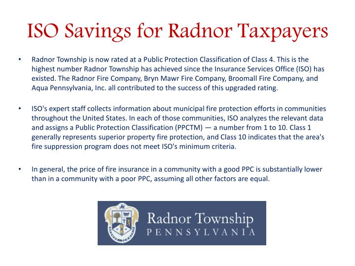 ISO Savings for Radnor Taxpayers