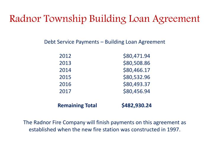 Radnor Township Building Loan Agreement