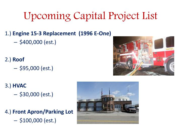 Upcoming Capital Project List