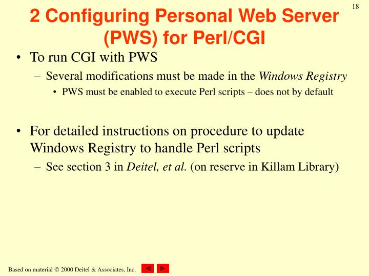 2 Configuring Personal Web Server (PWS) for Perl/CGI
