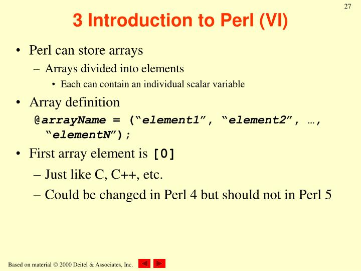 3 Introduction to Perl (VI)