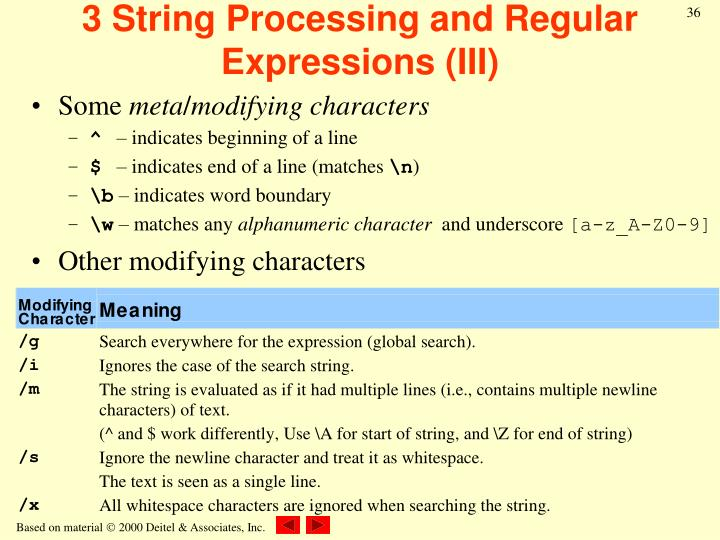 3 String Processing and Regular Expressions (III)