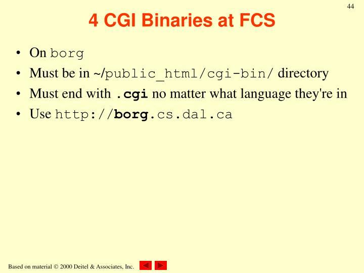 4 CGI Binaries at FCS