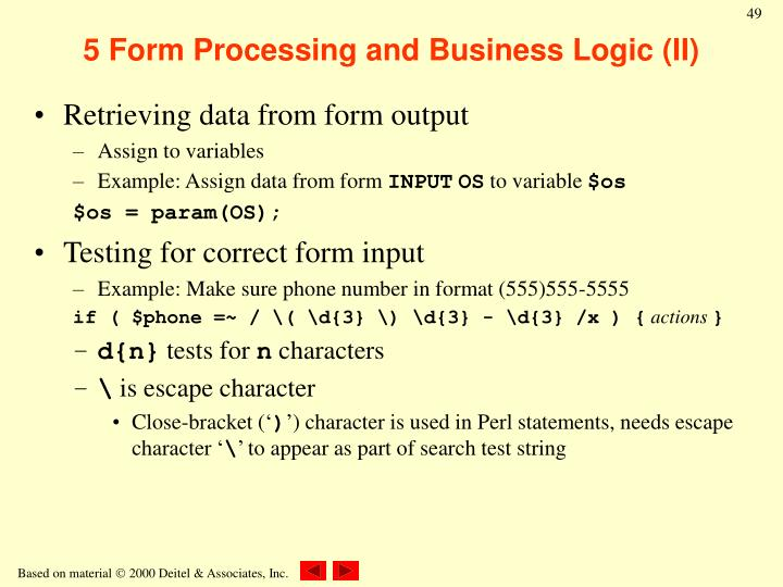 5 Form Processing and Business Logic (II)