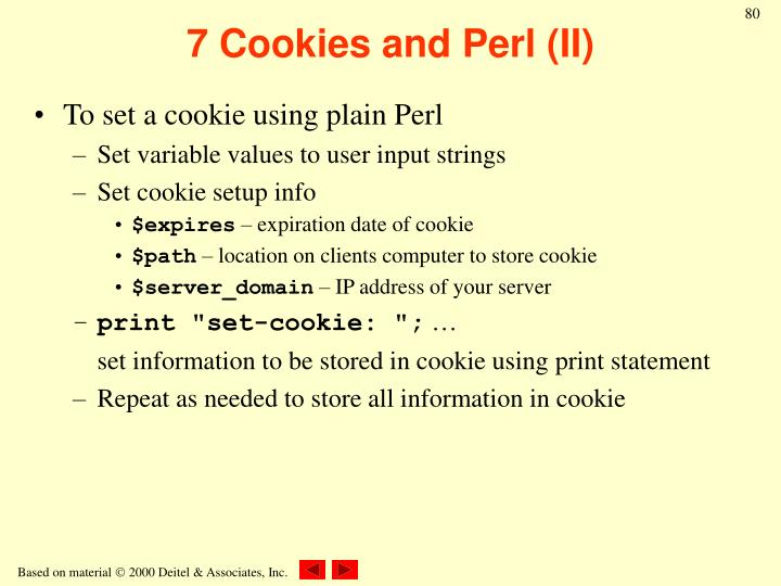 7 Cookies and Perl (II)
