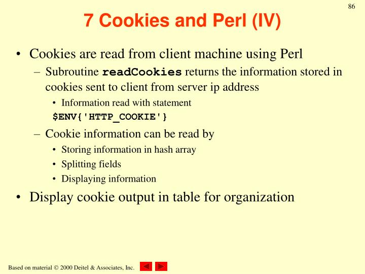 7 Cookies and Perl (IV)