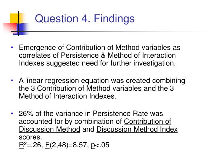 Question 4. Findings