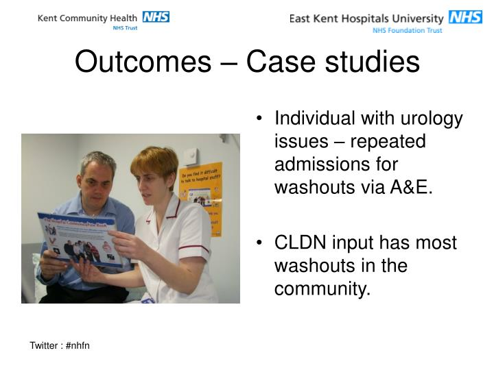 Individual with urology issues – repeated admissions for washouts via A&E.