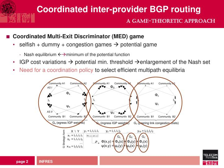 Coordinated inter provider bgp routing a game theoretic approach