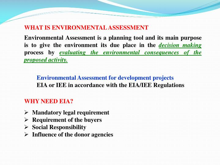 WHAT IS ENVIRONMENTAL ASSESSMENT