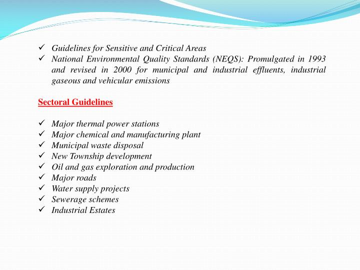 Guidelines for Sensitive and Critical Areas