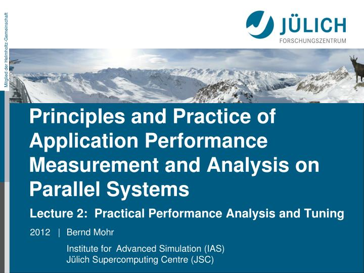 principles and practice of application performance measurement and analysis on parallel systems n.