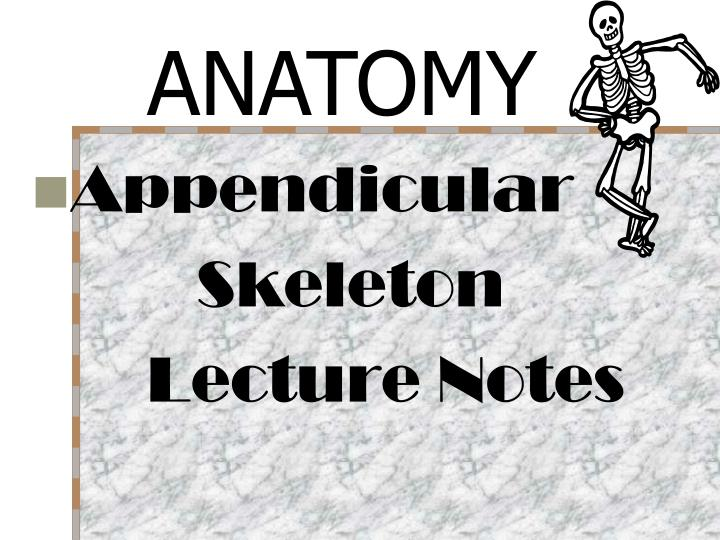 Ppt Appendicular Skeleton Lecture Notes Powerpoint Presentation