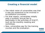 creating a financial model