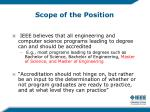 scope of the position