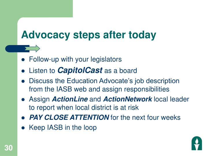 Advocacy steps after today